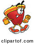Clip Art of a Smiling Red Apple Character Mascot Speed Walking or Jogging, Exercising by Toons4Biz