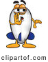 Clip Art of a Sneaky Blimp Mascot Cartoon Character Whispering and Gossiping by Toons4Biz