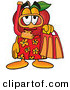 Clip Art of a Sporty and Smiling Red Apple Character Mascot in Orange and Yellow Snorkel Gear by Toons4Biz