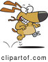 Clip Art of a Three Legged Dog Fetching a Stick by Toonaday