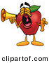 Clip Art of a Yawning Red Apple Character Mascot Screaming into a Megaphone by Toons4Biz