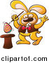 Clip Art of a Yellow Magician Easter Bunny Raising an Egg from a Hat by Zooco