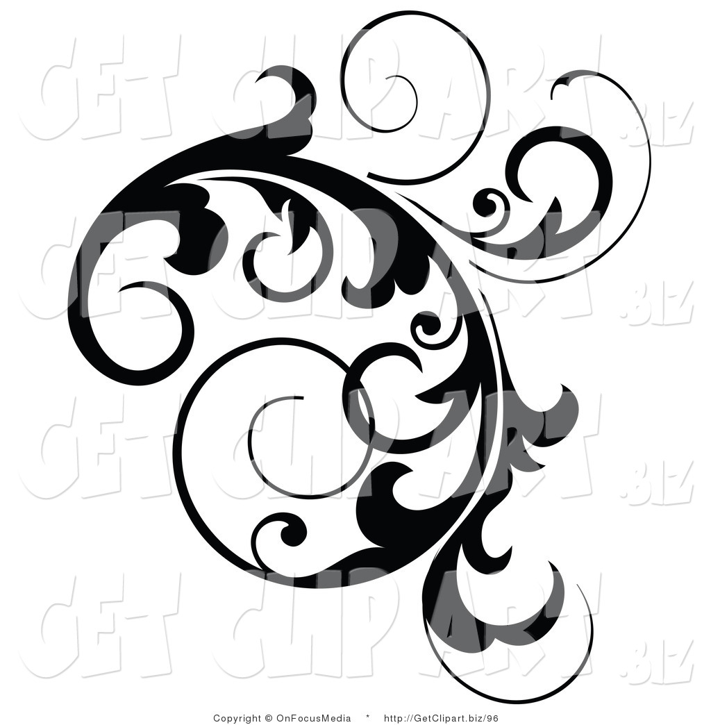 Clip Art Of A Black Cluster Design Accent Of Curling Vines On