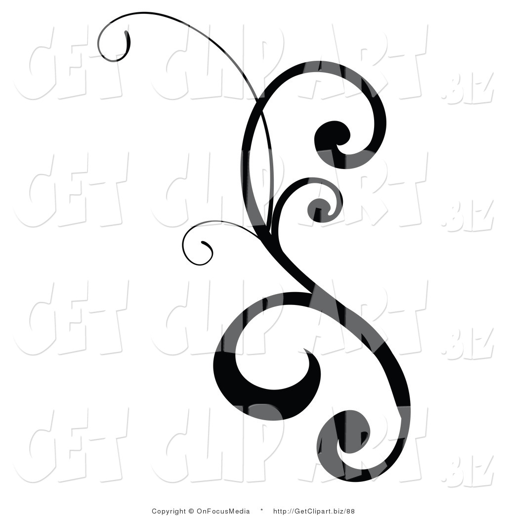 Charmant Clip Art Of A Black Design Scroll With Curly Edges On White