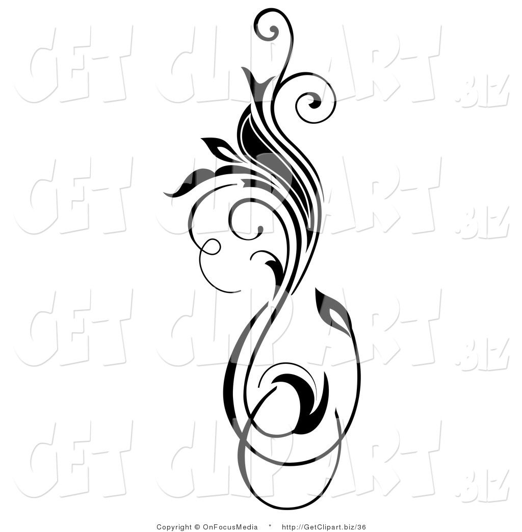 clip art of a black vertical flourish with a blooming