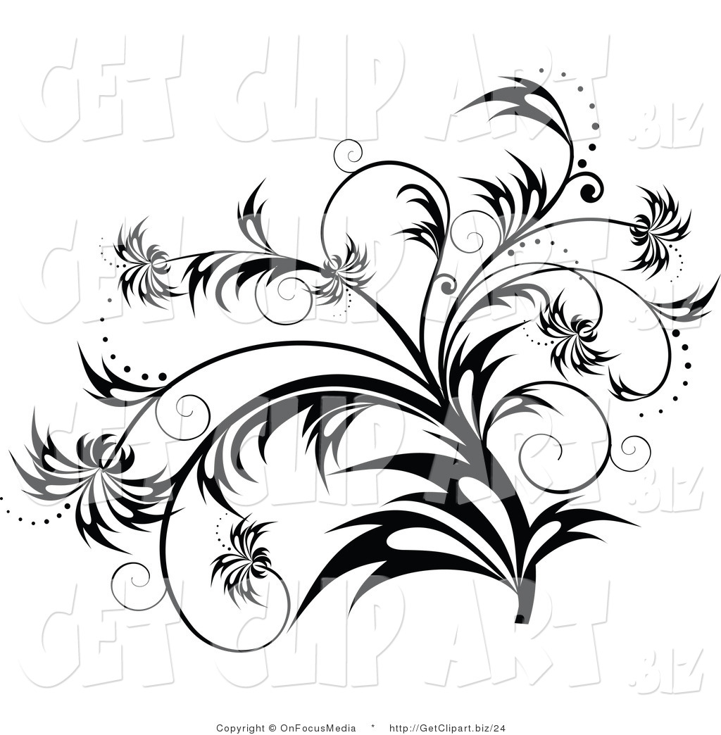Elegant Black And White Flourish, Plant Scroll Design Element With Sparkles  And Wisp Leaves