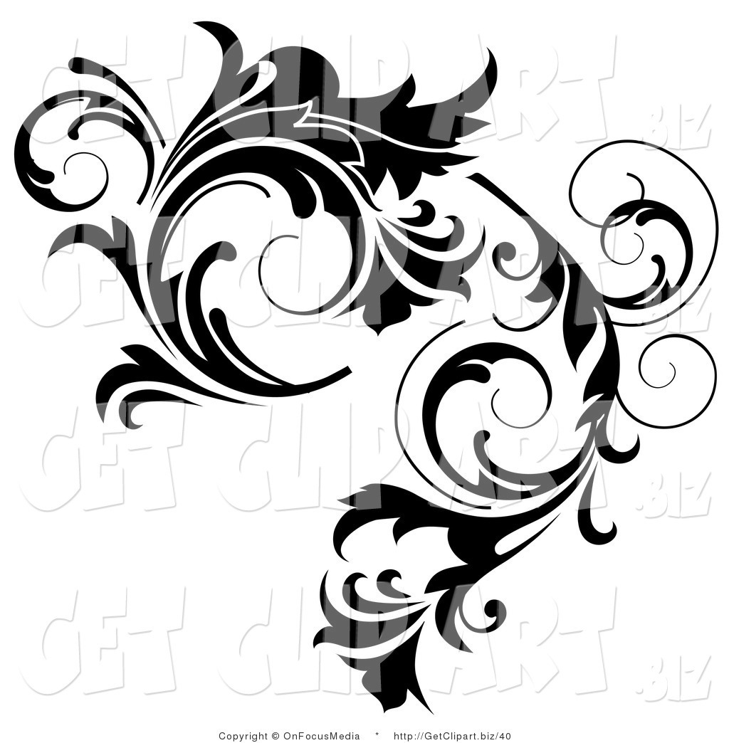 Clip Art Of A Thick Black Curlying Leafy Vine Design By