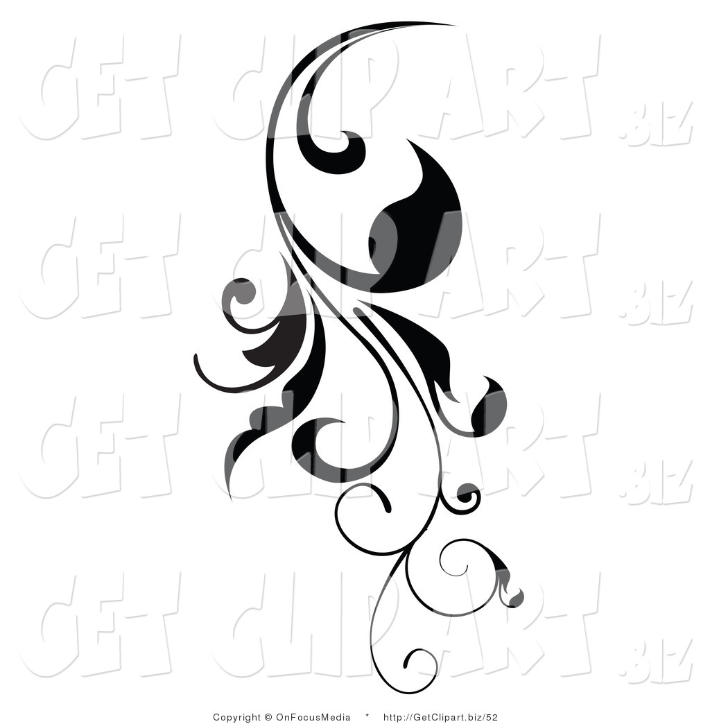 Clip Art Of A Vertical Black Scroll Vine Design Element Growing
