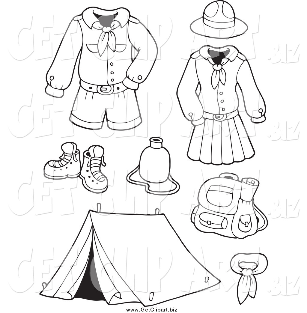 Line Art Uniform : Clip art of black and white scout uniforms gear