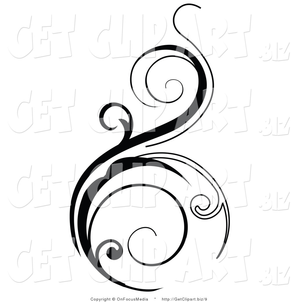 Superieur Vector Clip Art Of A Black Vertical Scroll Design Element On White